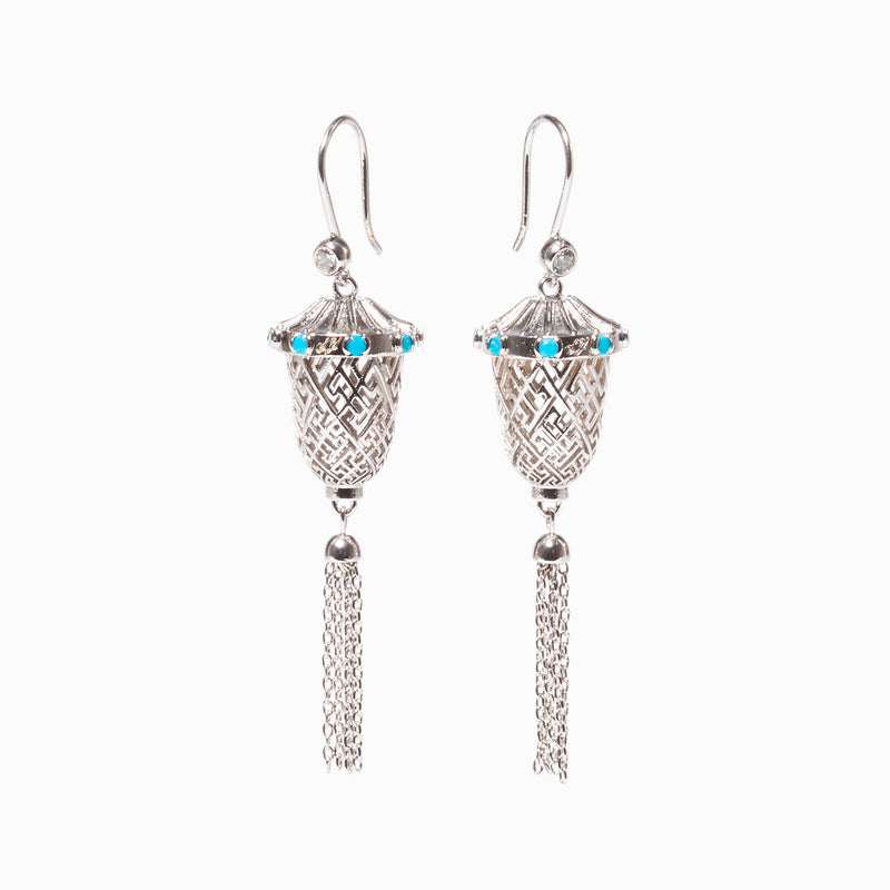 Lantern Joy Earrings — Silver - Shen Yun Shop