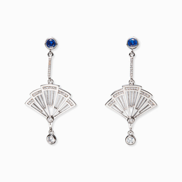 Fan Earrings--Silver with Sapphire Crystal - Shen Yun Shop