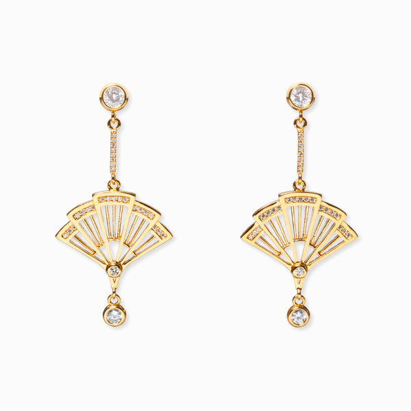 Fan Earrings - Gold with Clear Crystal - Shen Yun Shop