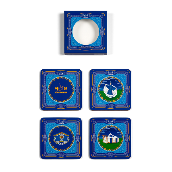Mongolian Bowls Coaster, Set of 4