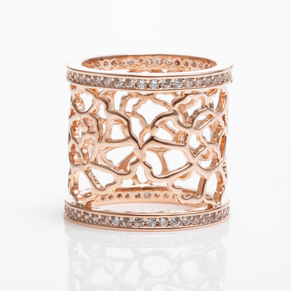 Tang Flower Scarf Ring - Rose Gold