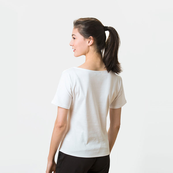 Female Dancer's Warm Up T-Shirt With Peach Logo
