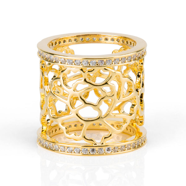 Tang Flower Scarf Ring - Gold
