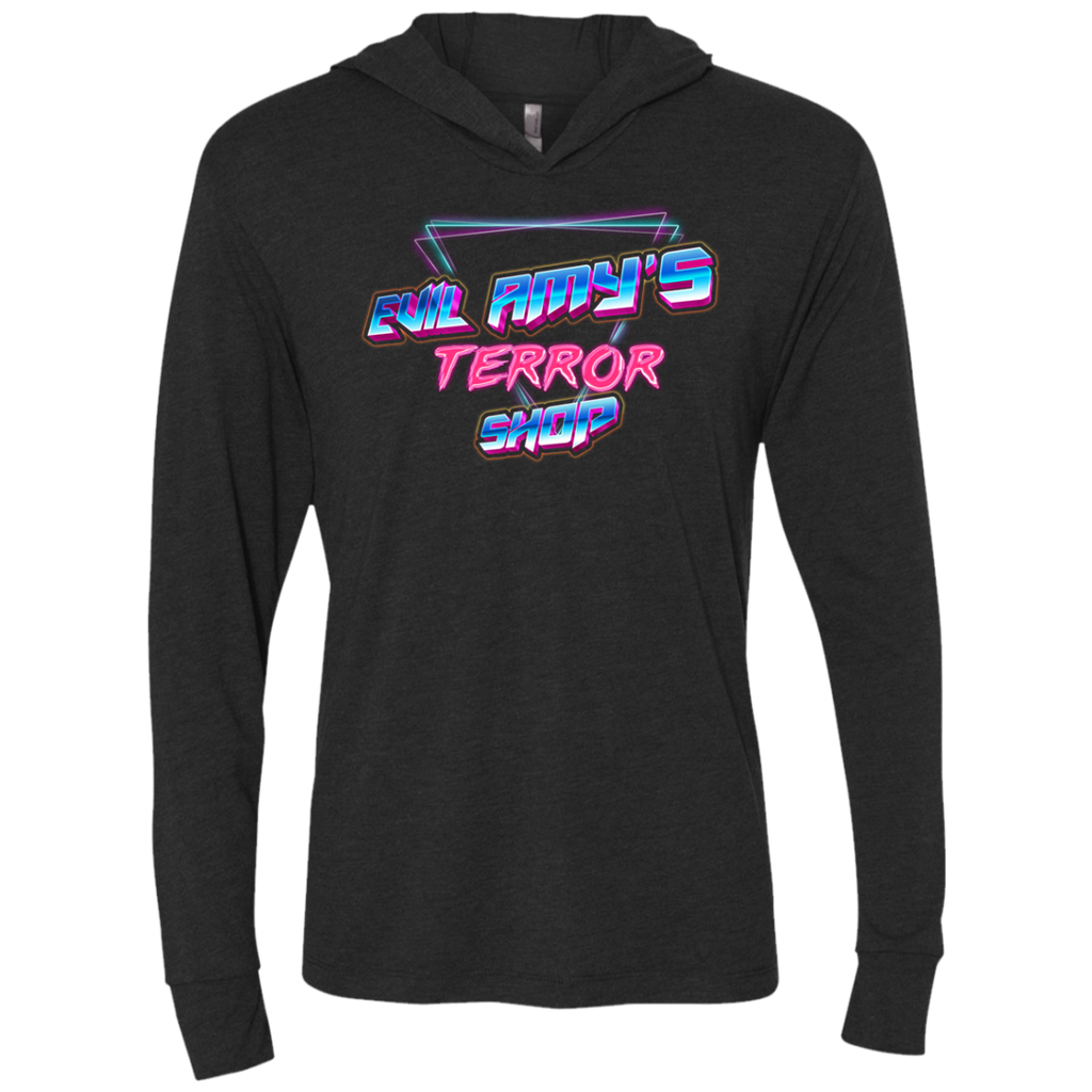 Evil Amy's Terror Shop Original 80's Theme Long Sleeve Hooded T-Shirt - [evil-amy-s-terror-shop]