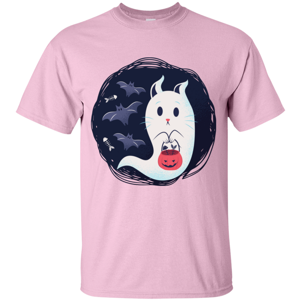 Ghost Kitty w/ Bats Youth T-Shirt - [evil-amy-s-terror-shop]