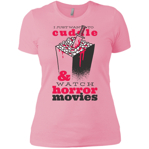 Cuddle & Horror Movies Ladies' Boyfriend T-Shirt - [evil-amy-s-terror-shop]