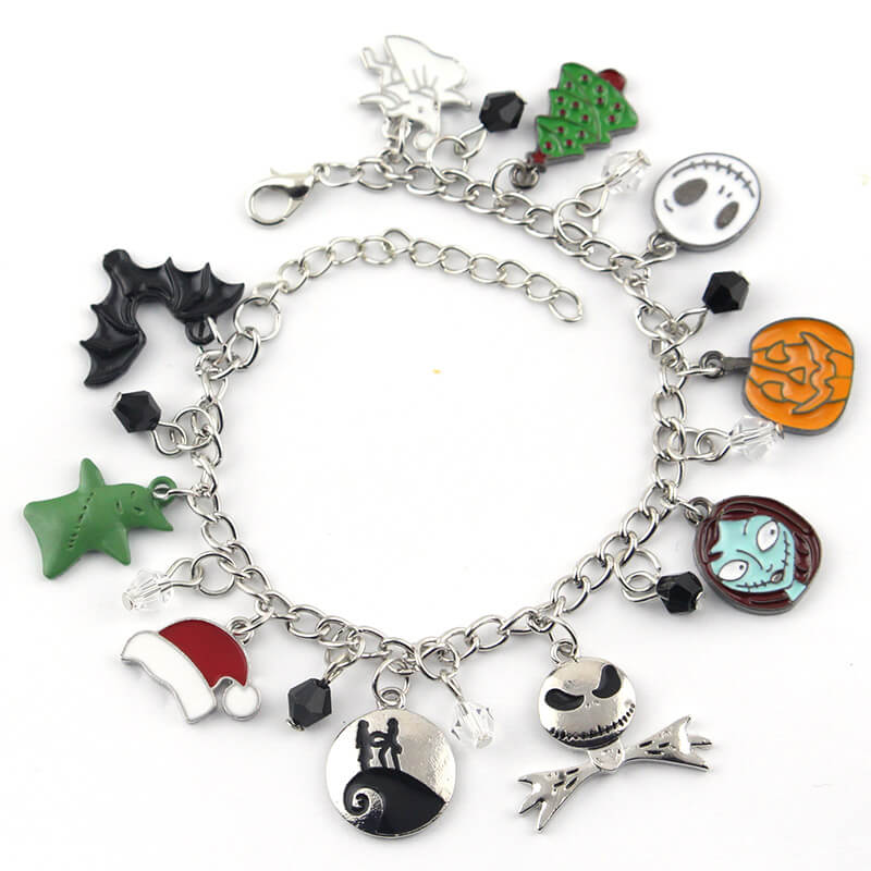 The Nightmare Before Christmas Halloween Jack Skellington Sally Snowflakes Skull Pumpkin Charm Bracelet