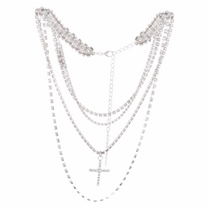 Cross Rhinstone Layered Necklace