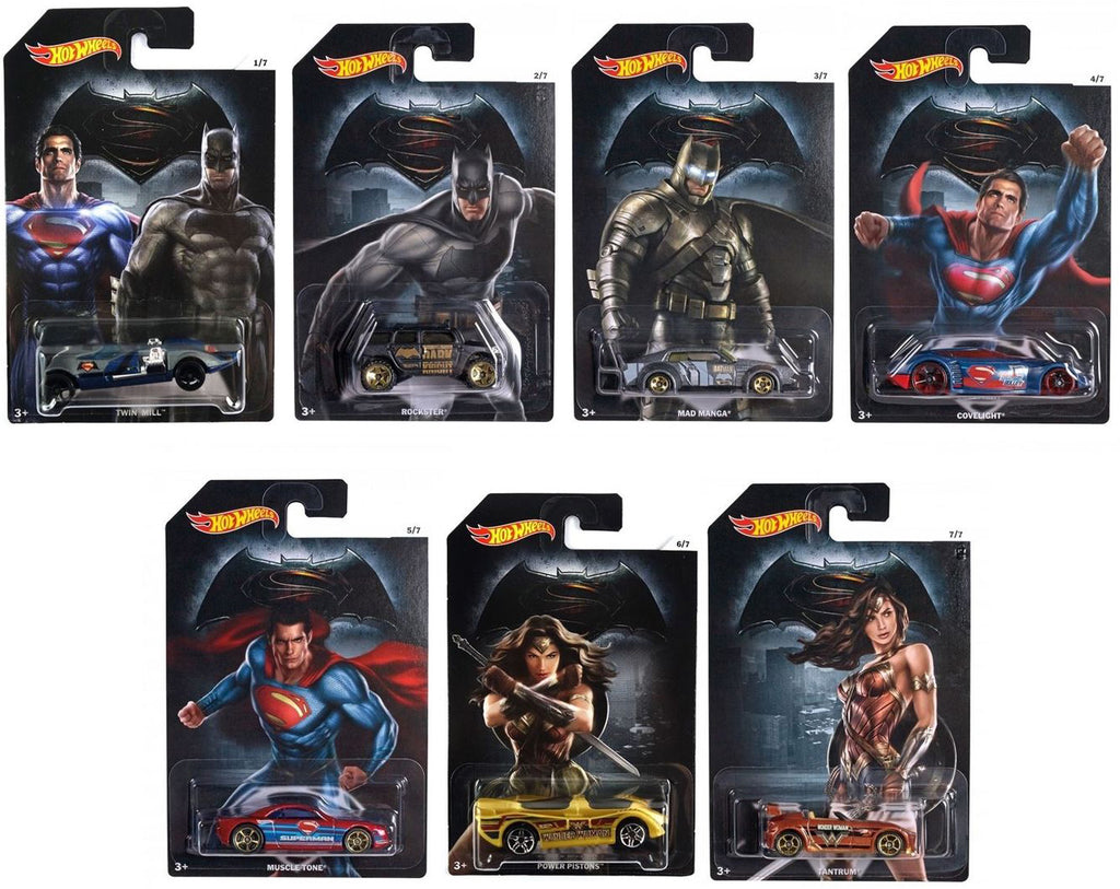 Hot Wheels Batman v Superman (Dawn of Justice) - Set of 7 Diecast Cars