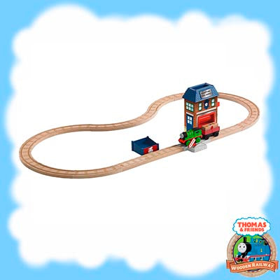 Thomas & Friends Wooden BATTERY PERCY & THE MAIL STATION Playset Y4481