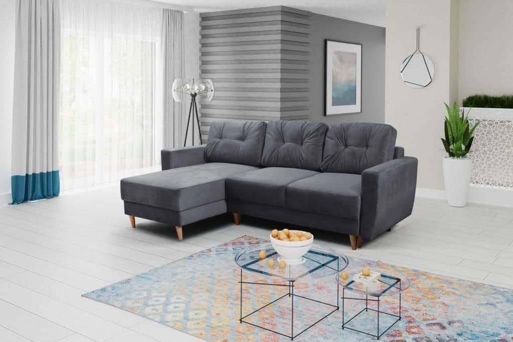 Regan Corner Sofa Bed With Storage Grey Fabric