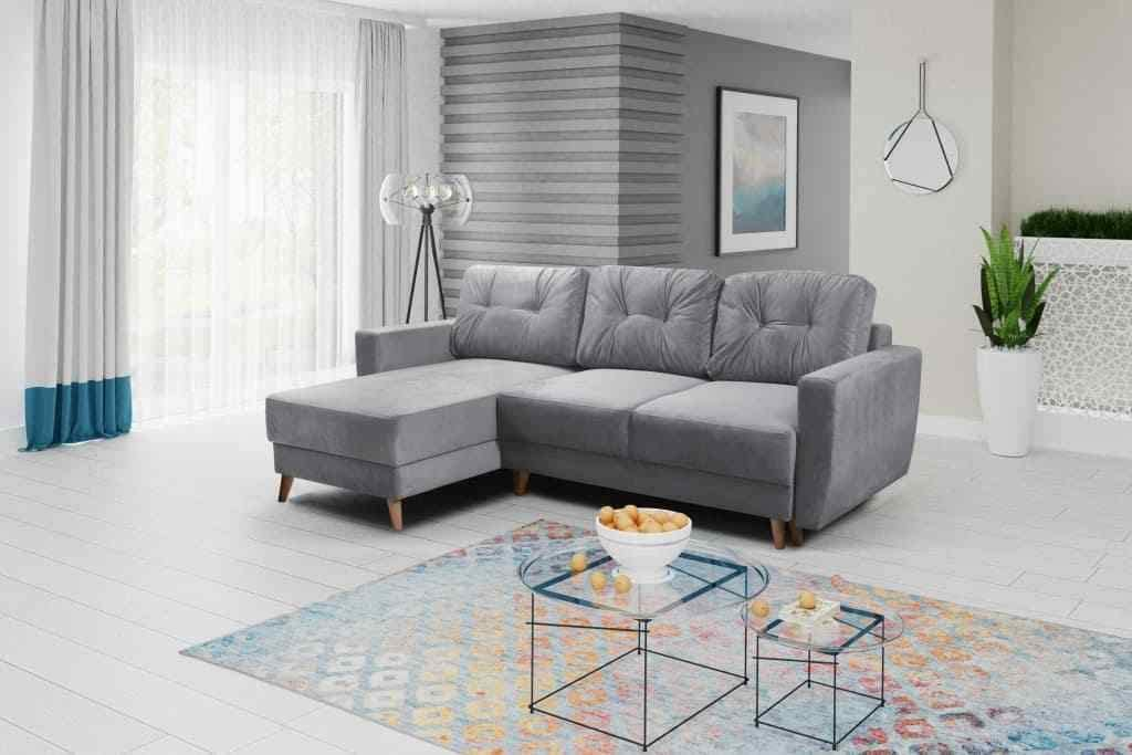 Regan Corner Sofa Bed With Storage Light Grey Fabric