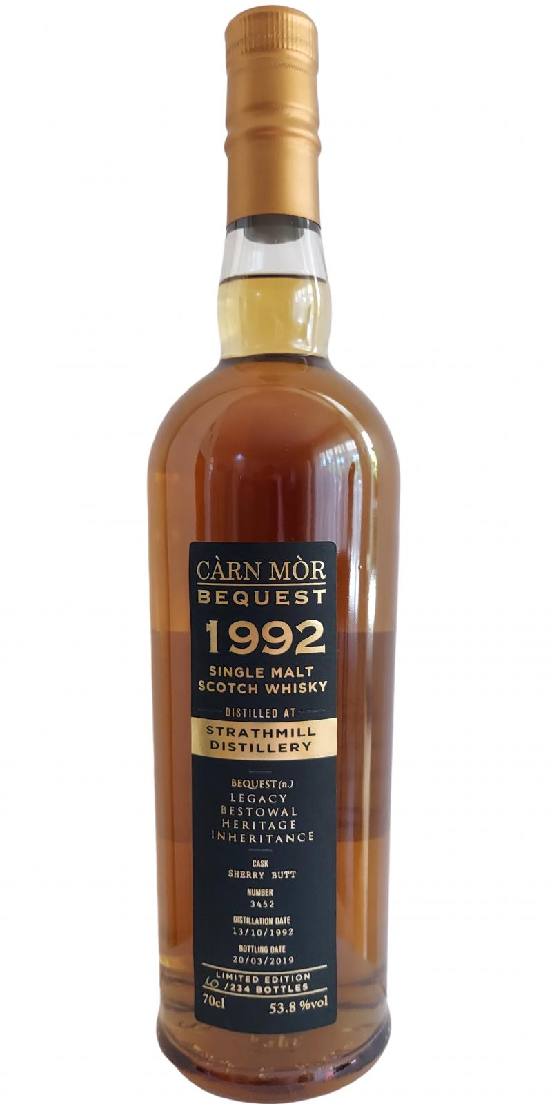 Carn Mor Bequest Strathmill 1992 27 Year Old Sherry Butt 53.8% 70cl