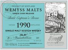 Load image into Gallery viewer, Wemyss Single Cask Release Bunnahabhain 1990 28 Year Old Boat Captain Brew 46.8% 70cl