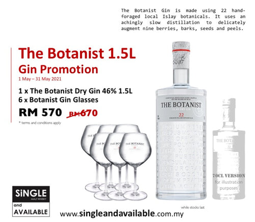 The Botanist Gin Supersized Promo (& 6 Glasses) 46% 1.5L