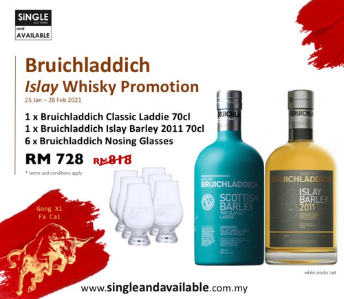 Bruichladdich The Classic Laddie & Islay Barley 2011 Promo (50%, 2x70cl) & 6 Glasses