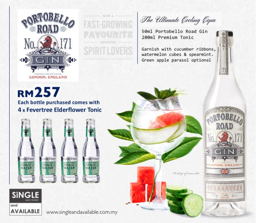 Portobello Road Gin & 4 x Fevertree Elderflower Tonic Promotion