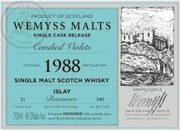 Wemyss Single Cask Release Bowmore 1988 31 Year Old Candied Violets 46% 70cl