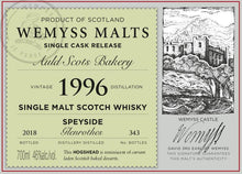 Load image into Gallery viewer, Wemyss Single Cask Release Glenrothes 22 Year Old Auld Scots Bakery 46% 70cl