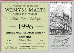 Wemyss Single Cask Release Glenrothes 22 Year Old Auld Scots Bakery 46% 70cl