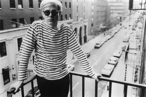 Andy Warhol striped tee on balcony