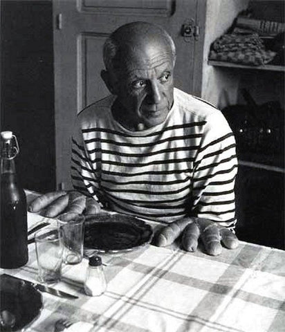 Pablo Picasso wearing stripes