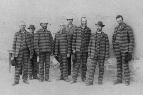 prisoners in Utah c 1885 wearing horizontally striped prison uniforms