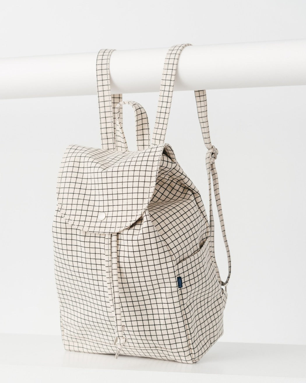 Drawstring Backpack Natural Grid