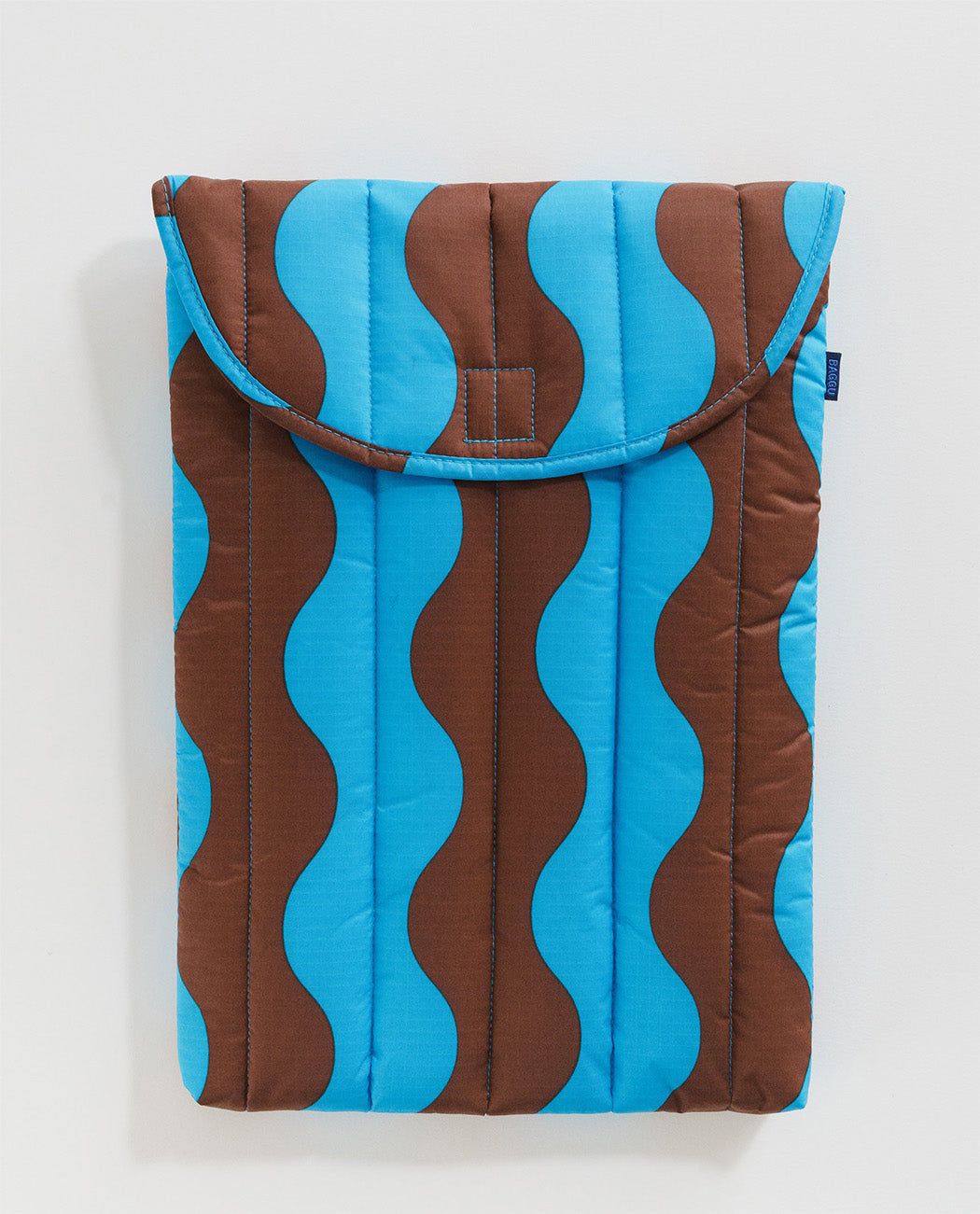 Baggu Puffy Laptop Sleeve 16 inch Teal Brown Wavy Stripe Utrecht