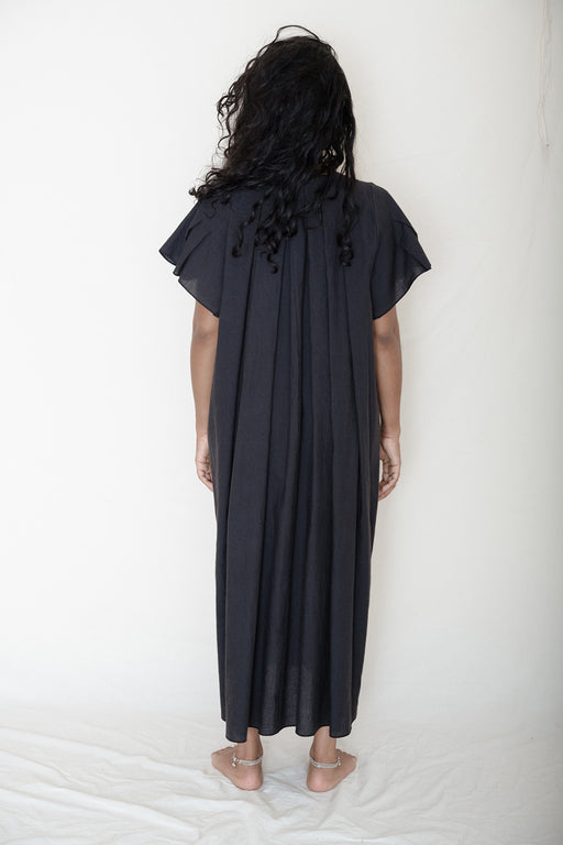 Base Range Auk Pleated Dress Black Linen Cotton