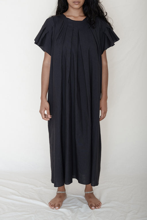 Baserange Auk Dress Black Linen Cotton Pleated
