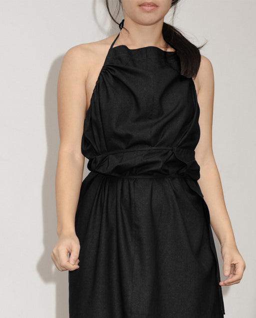 Baserange Apron Dress Raw Silk Black