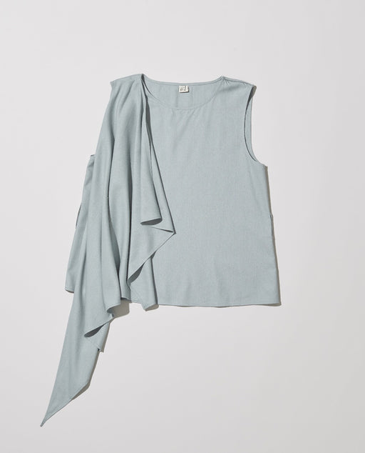 Baserange Dahl Wrap Top Blue Grey