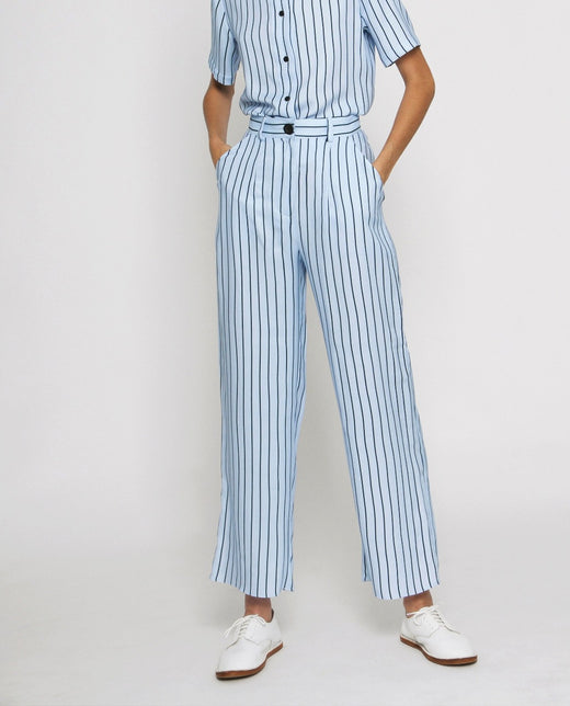 Diarte Alex viscose light blue striped trousers