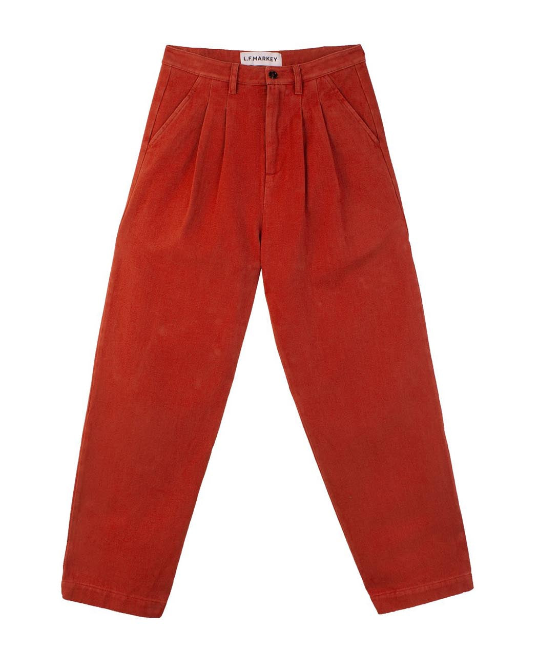 L F Markey Classic Slacks Brick Red Pleated Trousers