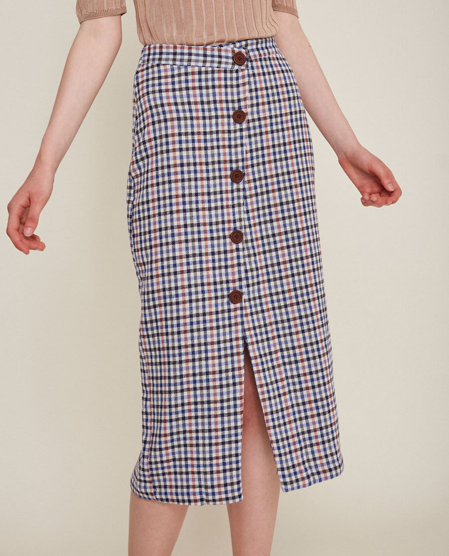 Rita Row Utrecht Navy checkered skirt buttons 1539-FA
