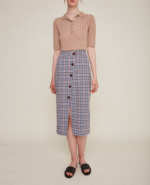 Rita Row Checkered Skirt Navy Sale Nederland Europe