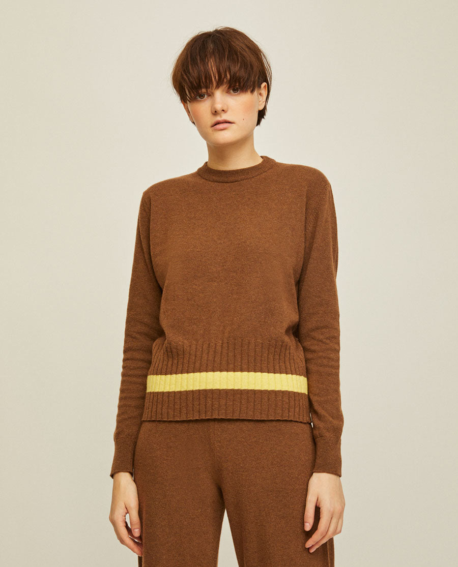 Rita Row Nina Knit Brown Sweater Yellow Nederland