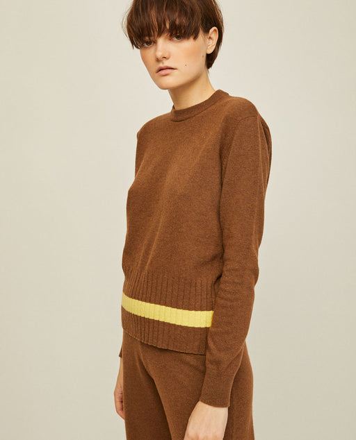 Rita Row Nina Knit Sweater Brown Yellow Stripe