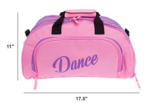 Silver Lilly Womens Nylon Dance Duffel Gym Bag w/Shoe Compartment (Pink/Purple, One Size)
