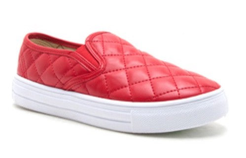 Red Quilted Slip Ons