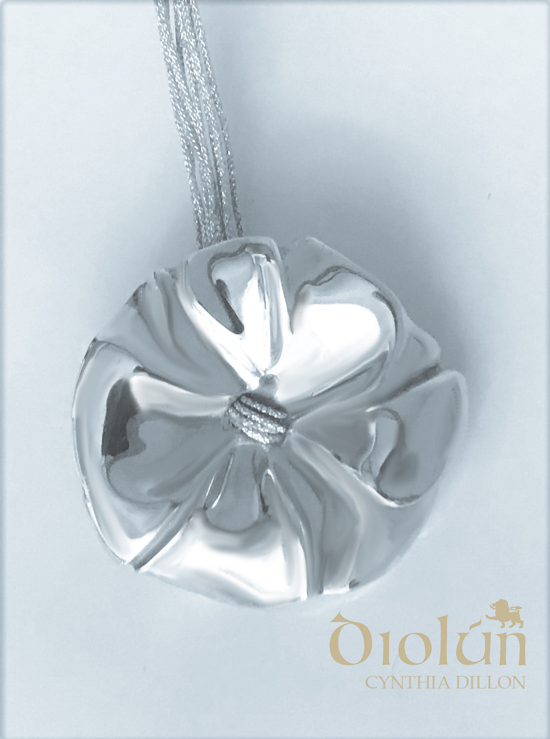 "Pendant - Sculpted  ""Flower"" in S/S on a16""  Cord - DiolunDesigns"