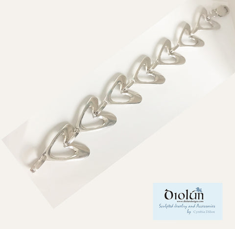 "Bracelet - ""Heart"" Links in Sterling Silver"