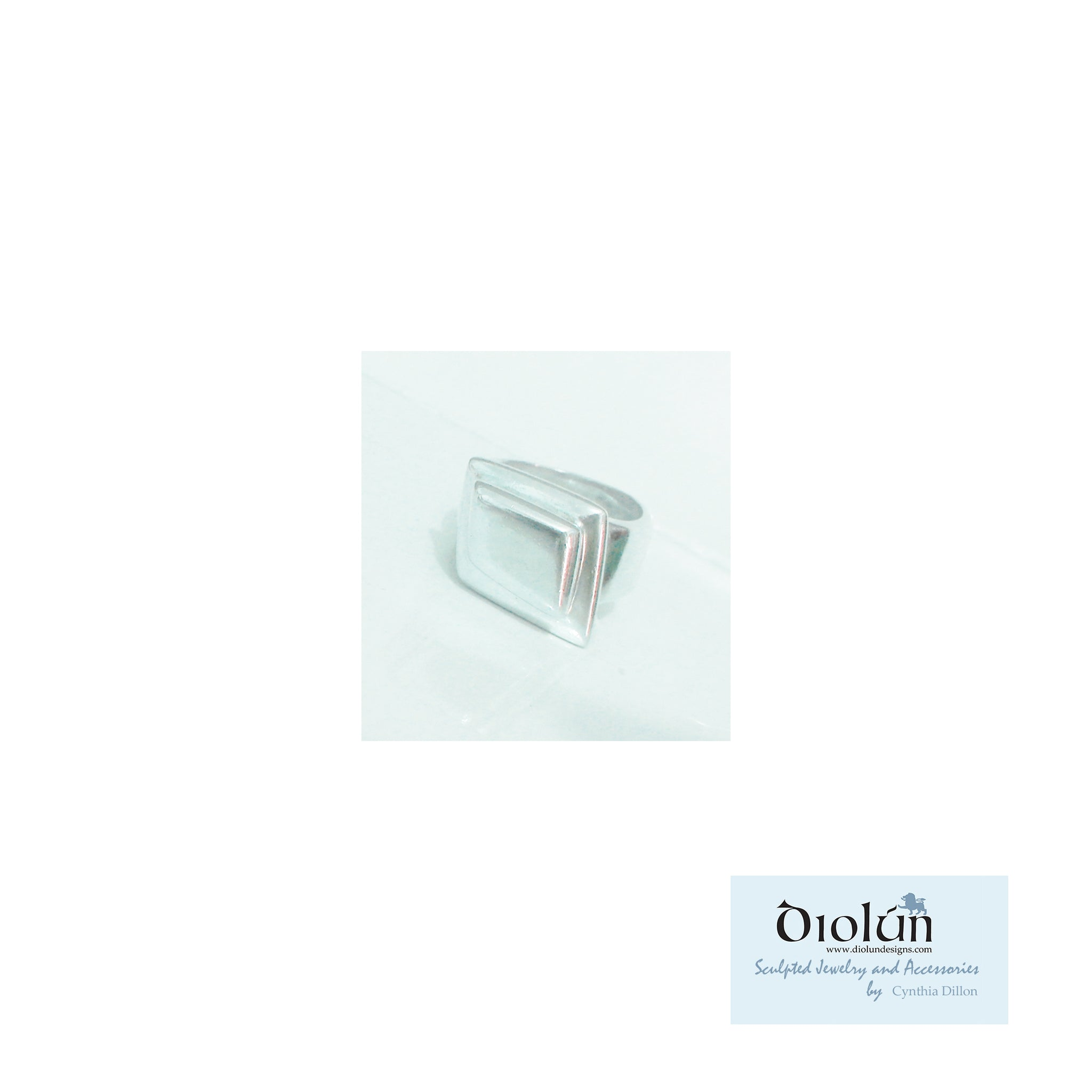 "Rings ~ Sculpted ""Emerald Cut"" in Sterling Silver"