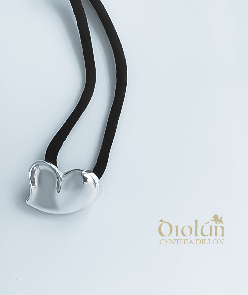 "Pendant - Sculpted ""Heart"" in S/S w. Black Cord - DiolunDesigns"