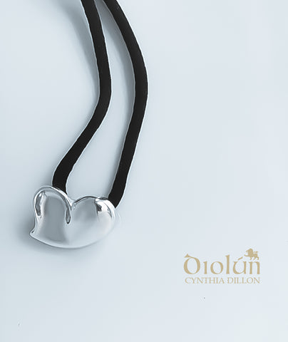 "Pendant - Sculpted ""Heart"" in S/S w. Black Cord"