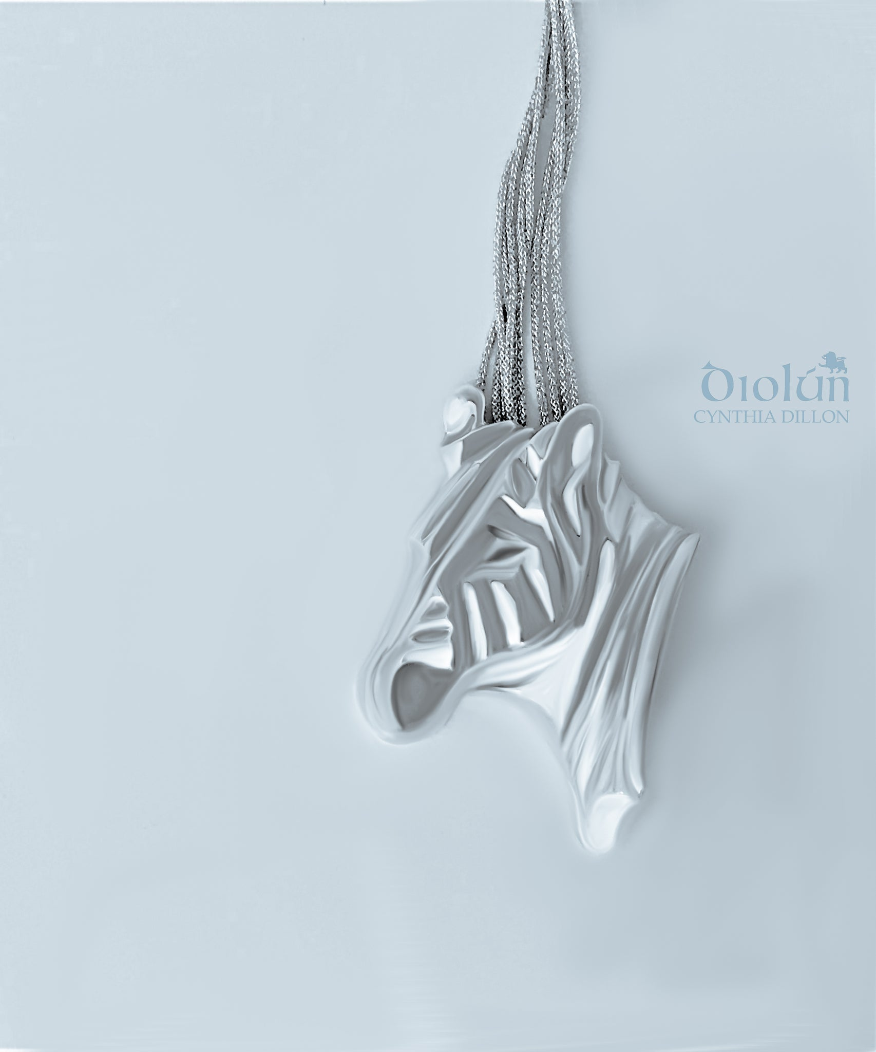 "Pendant - Sculpted ""Zebra"" in S/S w. Cord - DiolunDesigns"