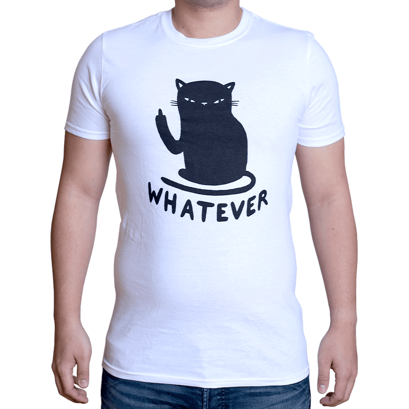 Whatever Cat T-Shirt White-T-Shirt-MUKA