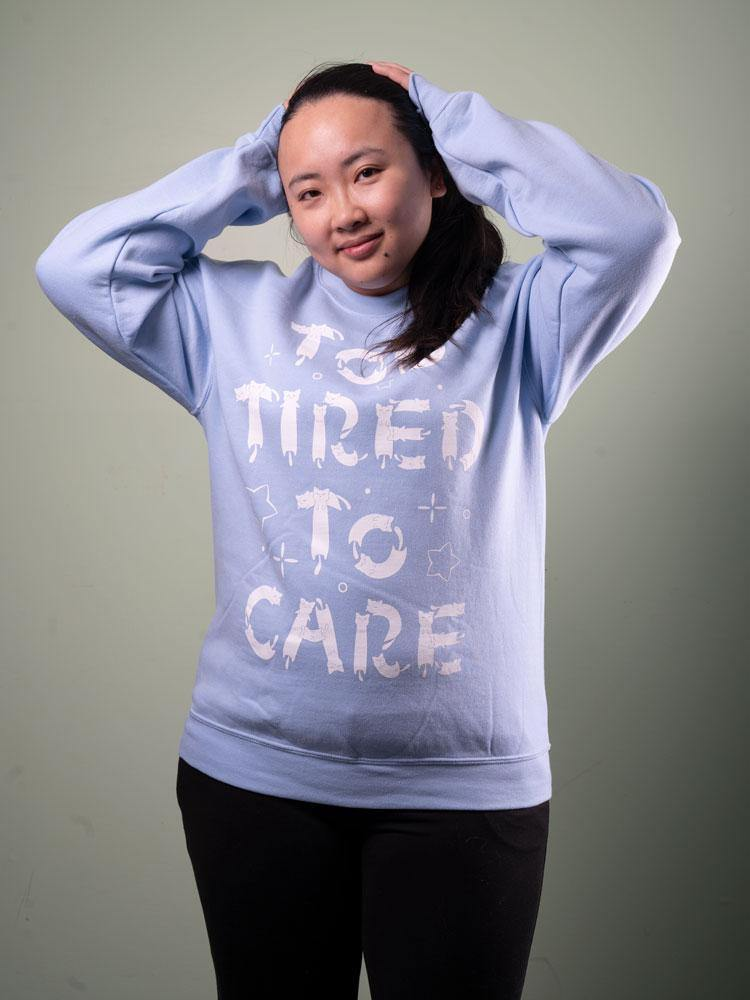 Too Tired To Care Sweater Blue - MUKA