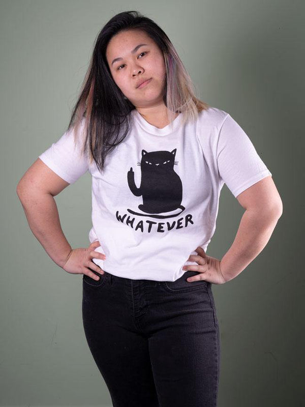 Whatever Cat T-Shirt White - MUKA
